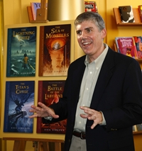 Rick Riordan, author of the Percy Jackson and the Olympians' series visits a library.